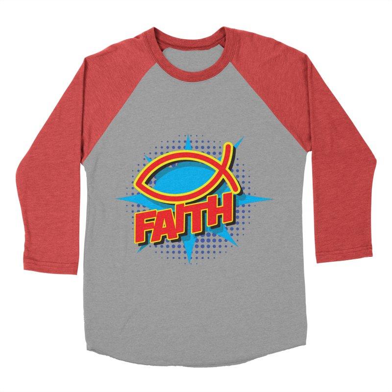 Pop Art Faith Fish Women's Baseball Triblend Longsleeve T-Shirt by goofyink's Artist Shop