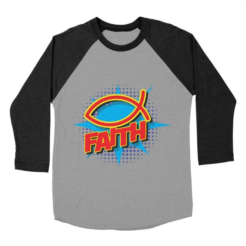 Pop Art Faith Fish Women's Baseball Triblend T-Shirt by goofyink's Artist Shop