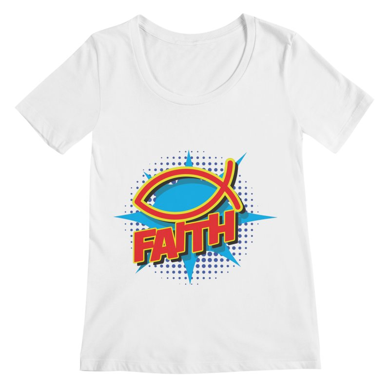 Pop Art Faith Fish Women's Regular Scoop Neck by goofyink's Artist Shop