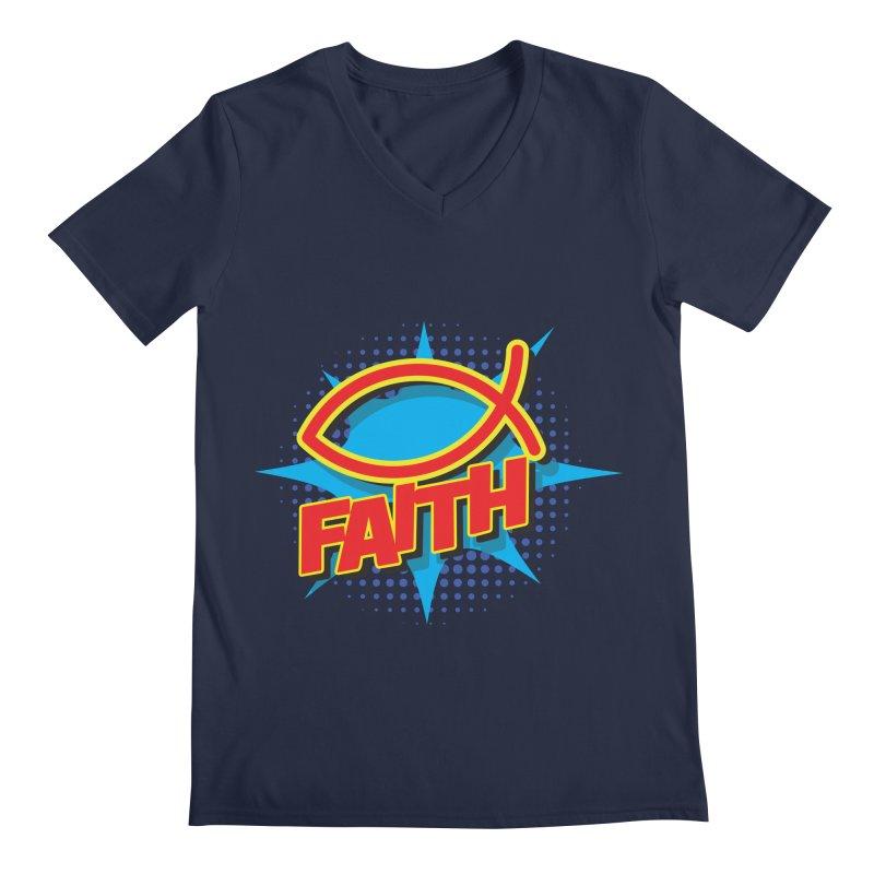 Pop Art Faith Fish Men's V-Neck by goofyink's Artist Shop