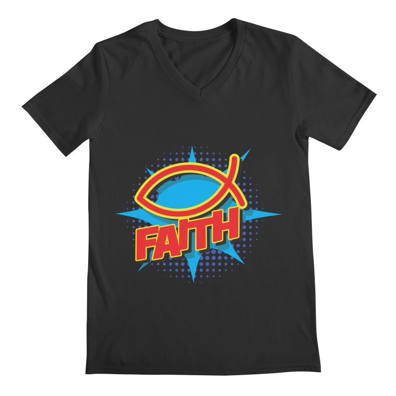 Pop Art Faith Fish Men's V-Neck by goofyink's Artist Shop