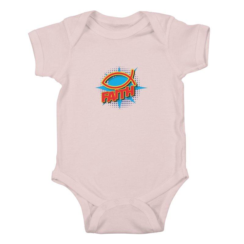 Pop Art Faith Fish Kids Baby Bodysuit by goofyink's Artist Shop