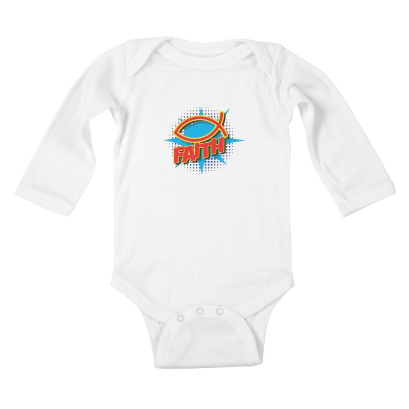 Pop Art Faith Fish Kids Baby Longsleeve Bodysuit by goofyink's Artist Shop