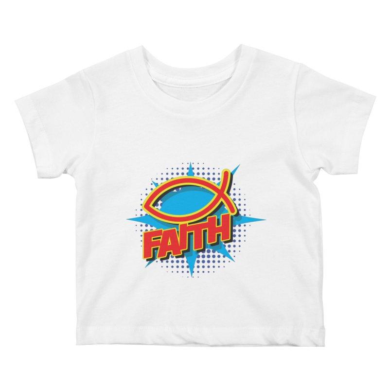 Pop Art Faith Fish Kids Baby T-Shirt by goofyink's Artist Shop