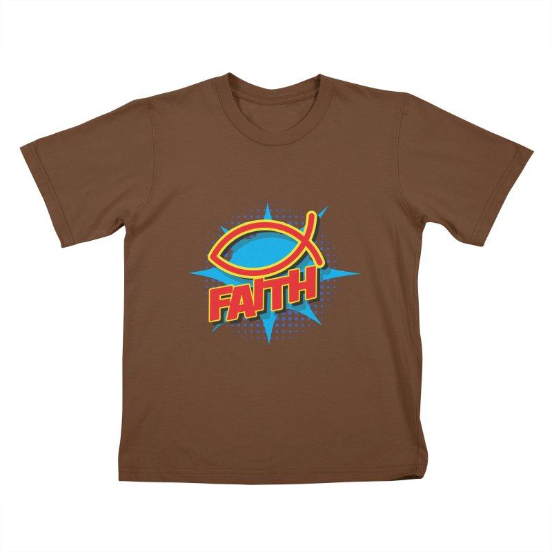 Pop Art Faith Fish Kids T-Shirt by goofyink's Artist Shop