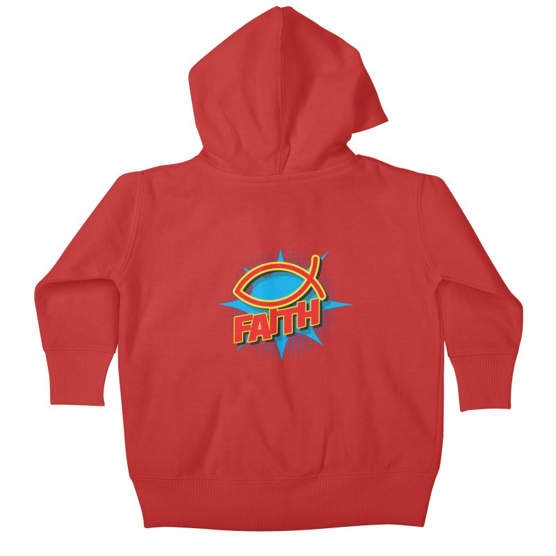 Pop Art Faith Fish Kids Baby Zip-Up Hoody by goofyink's Artist Shop