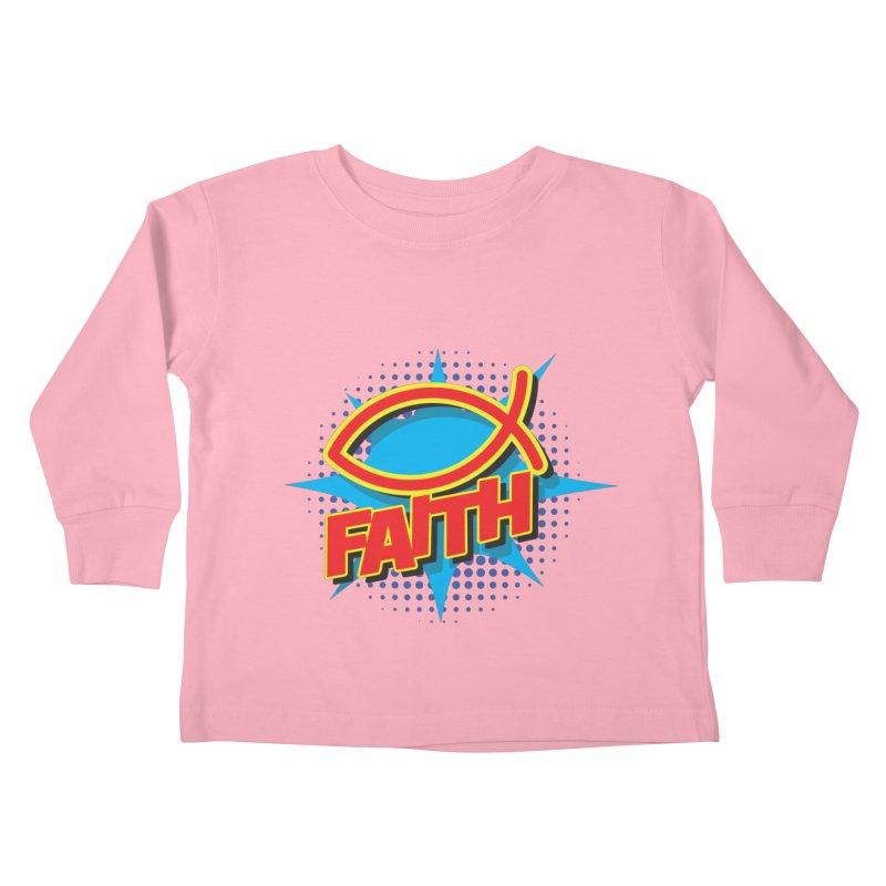Pop Art Faith Fish Kids Toddler Longsleeve T-Shirt by goofyink's Artist Shop