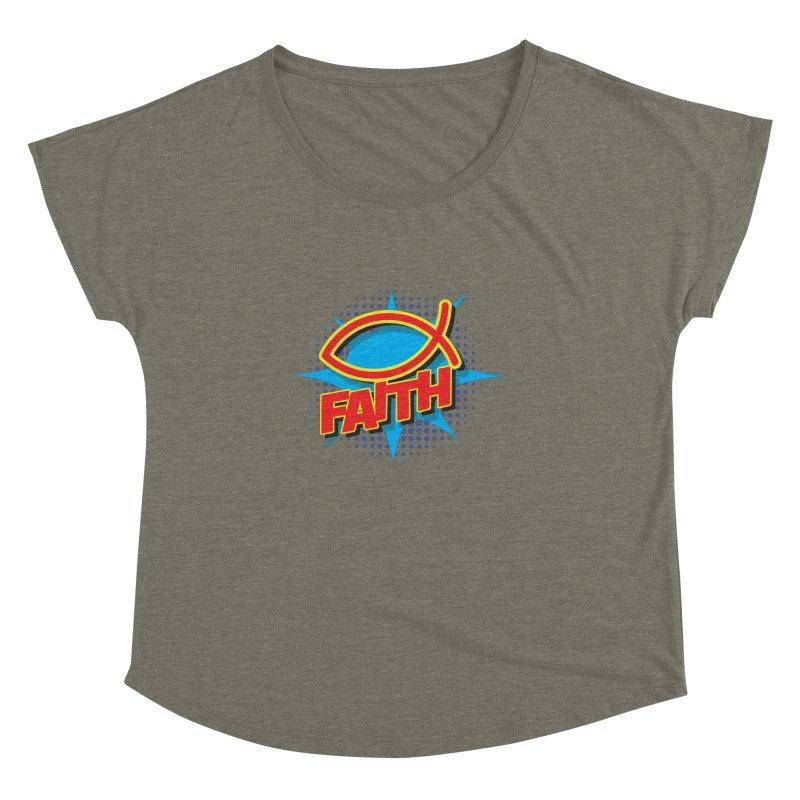 Pop Art Faith Fish Women's Dolman Scoop Neck by goofyink's Artist Shop
