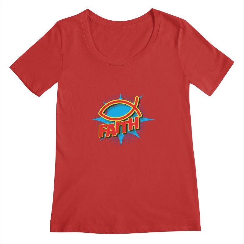 Pop Art Faith Fish Women's Regular Scoop Neck by goofyink's Artist Shop