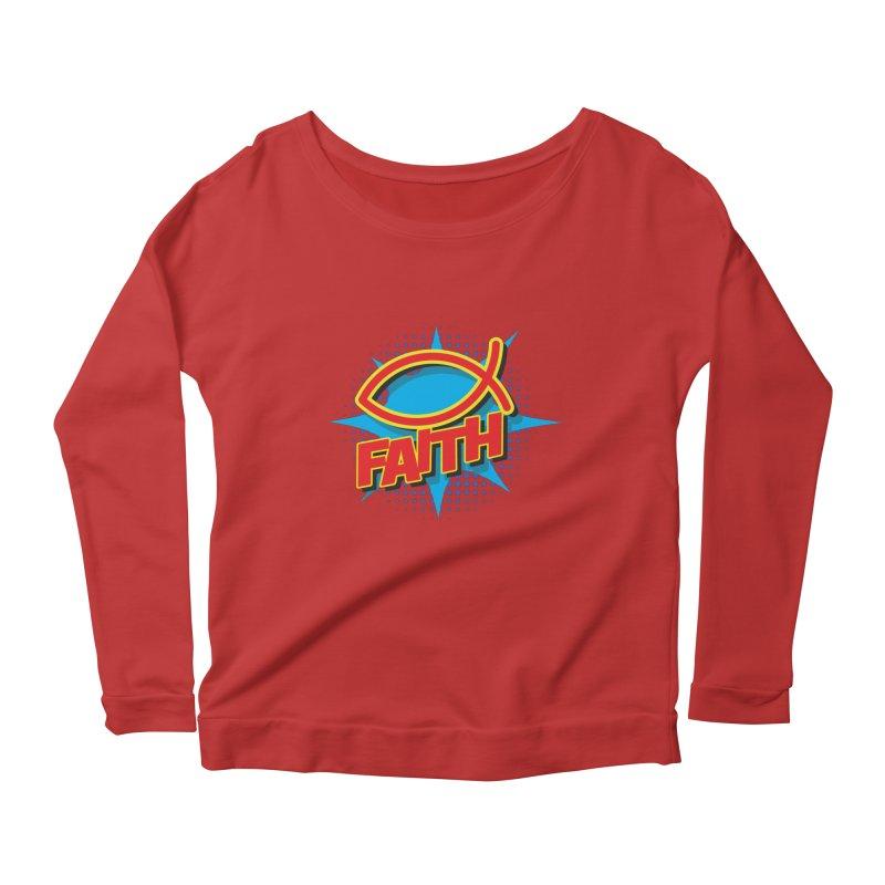 Pop Art Faith Fish Women's Scoop Neck Longsleeve T-Shirt by goofyink's Artist Shop