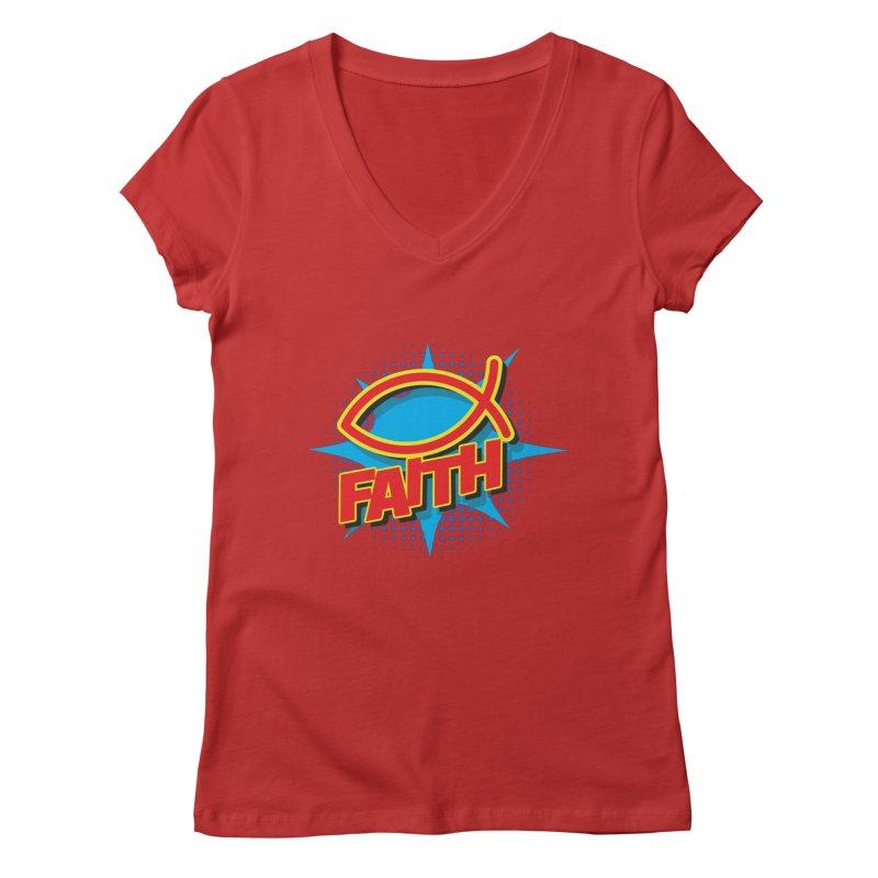 Pop Art Faith Fish Women's V-Neck by goofyink's Artist Shop