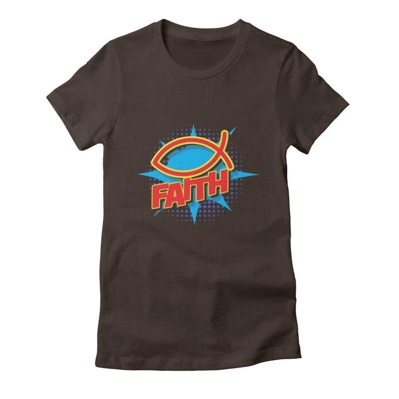 Pop Art Faith Fish Women's Fitted T-Shirt by goofyink's Artist Shop