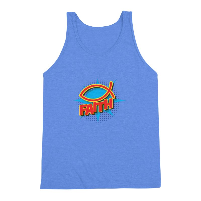 Pop Art Faith Fish Men's Triblend Tank by goofyink's Artist Shop