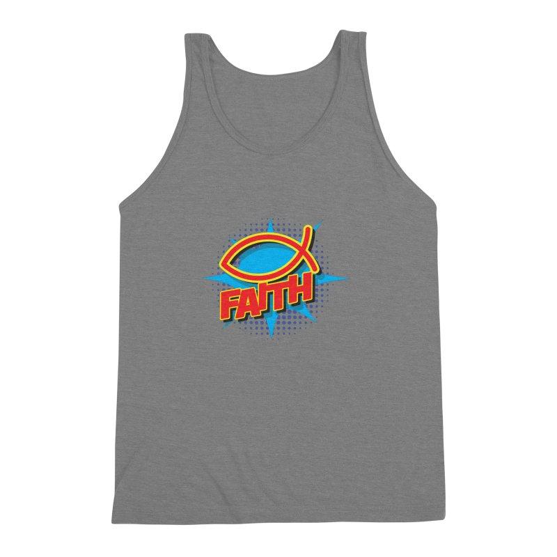 Pop Art Faith Fish Men's Triblend Tank by goofyink's Artist Shop