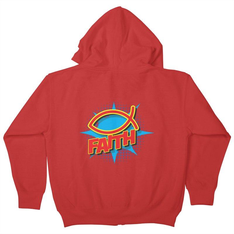 Pop Art Faith Fish Kids Zip-Up Hoody by goofyink's Artist Shop