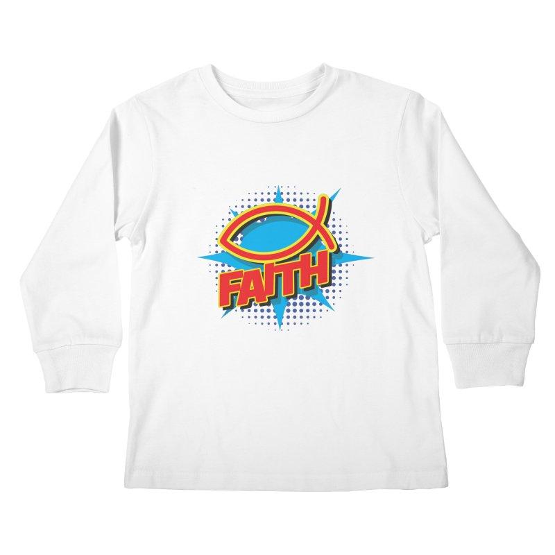 Pop Art Faith Fish Kids Longsleeve T-Shirt by goofyink's Artist Shop
