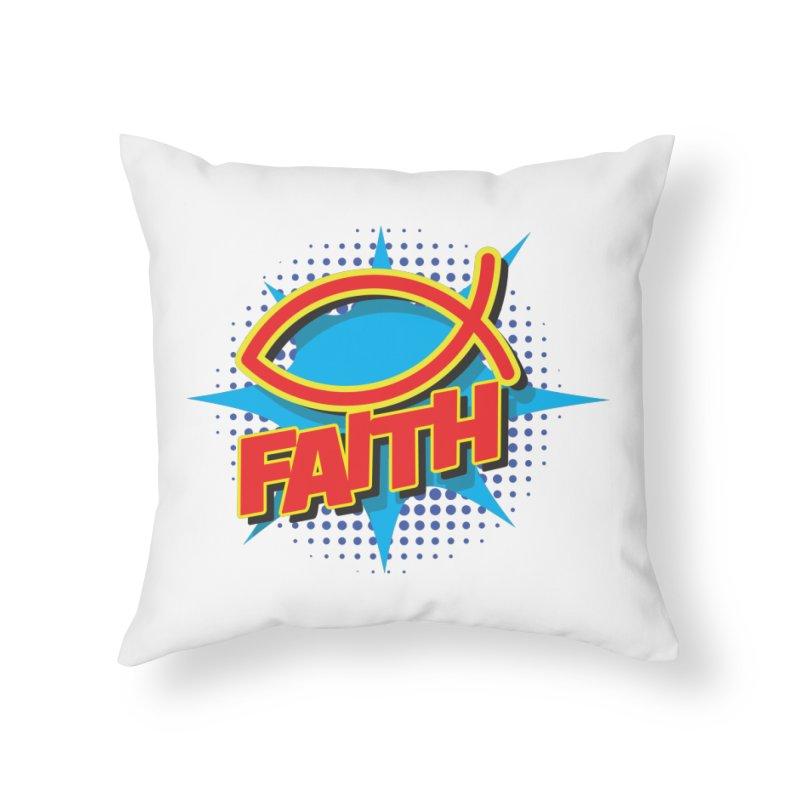 Pop Art Faith Fish Home Throw Pillow by goofyink's Artist Shop