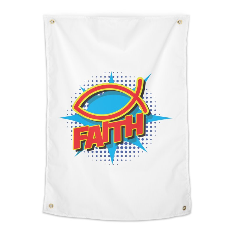 Pop Art Faith Fish Home Tapestry by goofyink's Artist Shop
