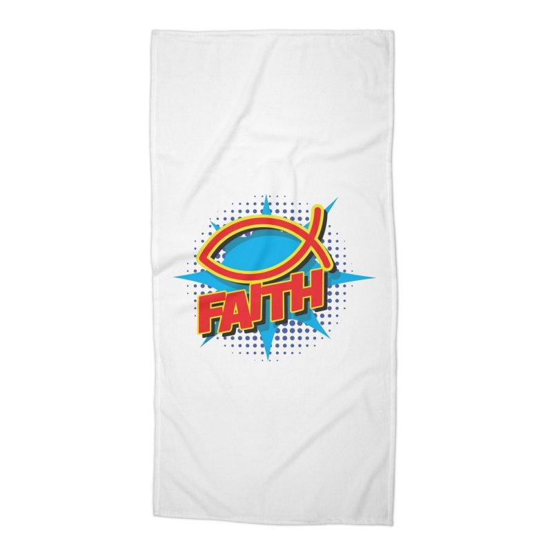 Pop Art Faith Fish Accessories Beach Towel by goofyink's Artist Shop