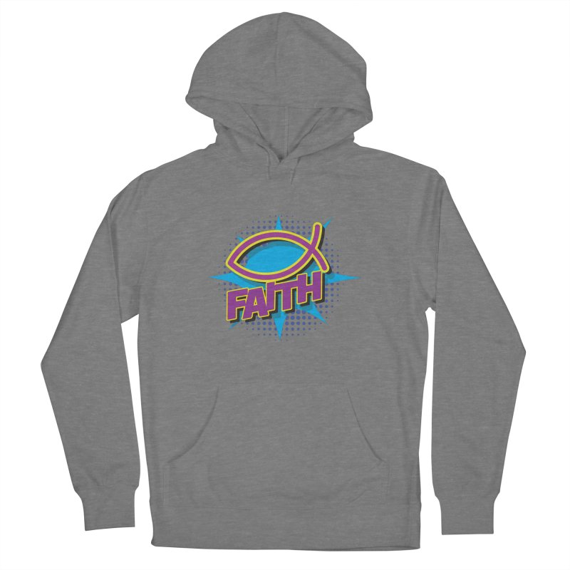 Purple and Gold Pop Art Faith Fish Women's Pullover Hoody by goofyink's Artist Shop