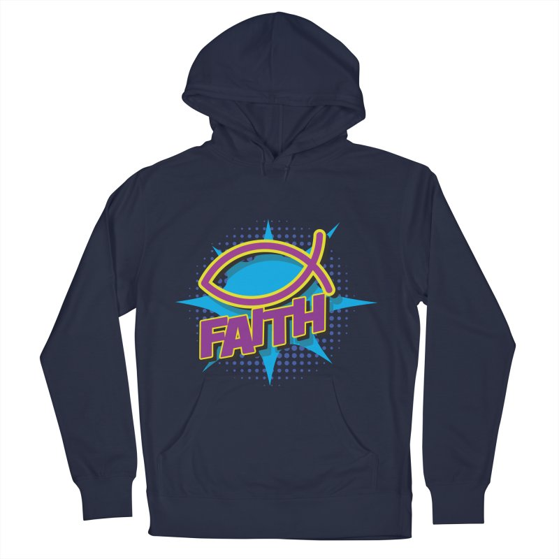 Purple and Gold Pop Art Faith Fish Women's French Terry Pullover Hoody by goofyink's Artist Shop
