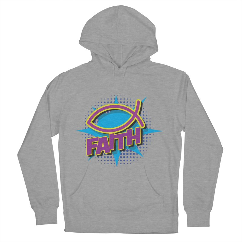 Purple and Gold Pop Art Faith Fish Men's French Terry Pullover Hoody by goofyink's Artist Shop