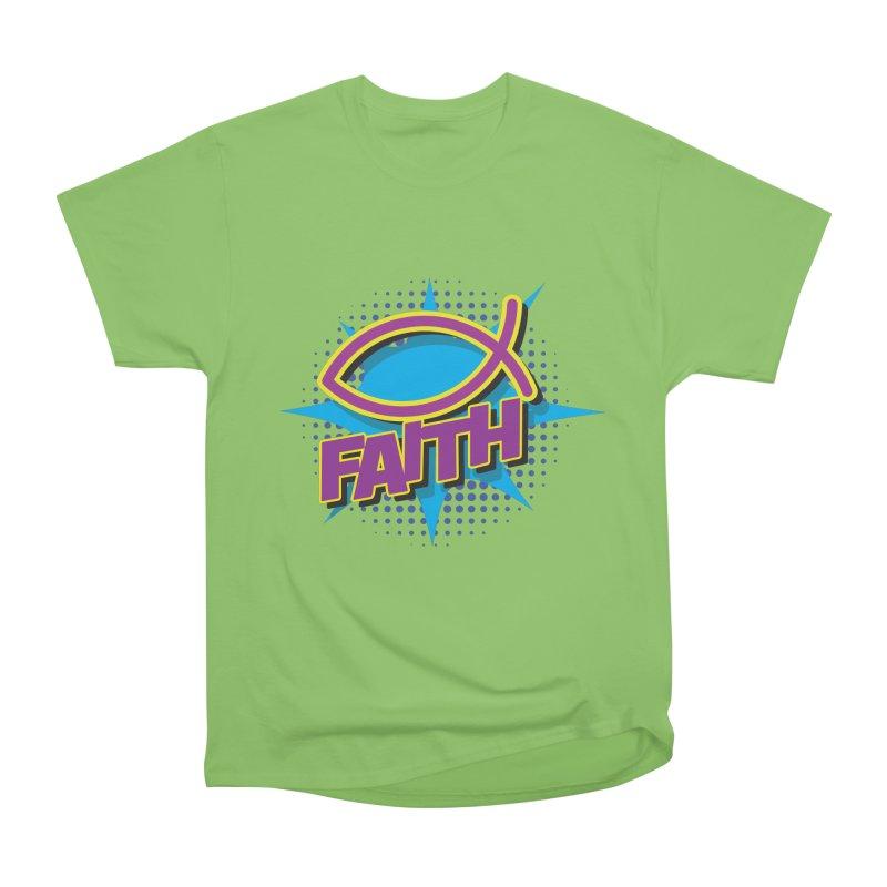 Purple and Gold Pop Art Faith Fish Women's Heavyweight Unisex T-Shirt by goofyink's Artist Shop