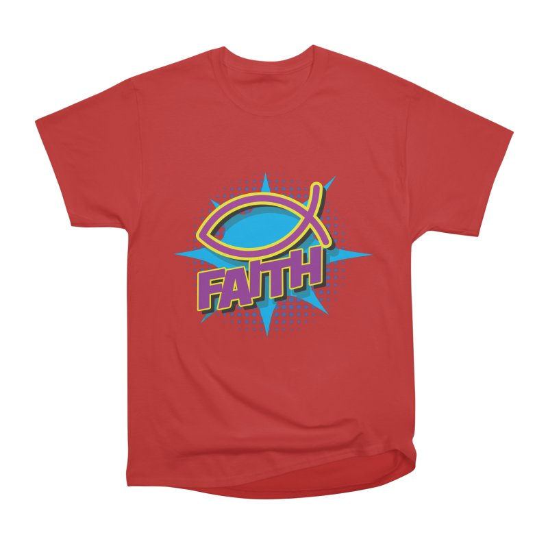 Purple and Gold Pop Art Faith Fish Women's Heavyweight Unisex T-Shirt by goofyink's Artist Shop