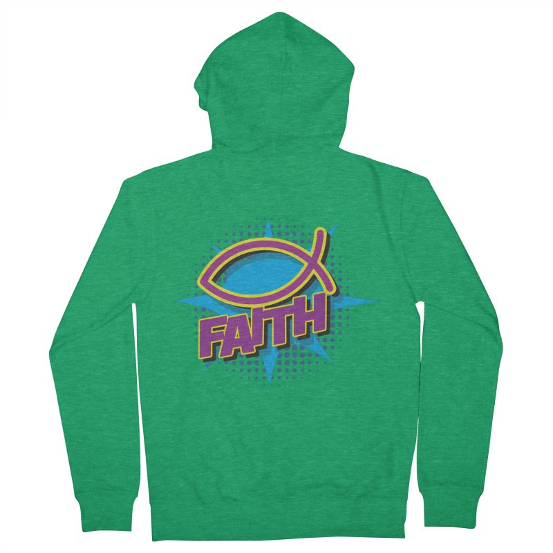 Purple and Gold Pop Art Faith Fish Men's French Terry Zip-Up Hoody by goofyink's Artist Shop