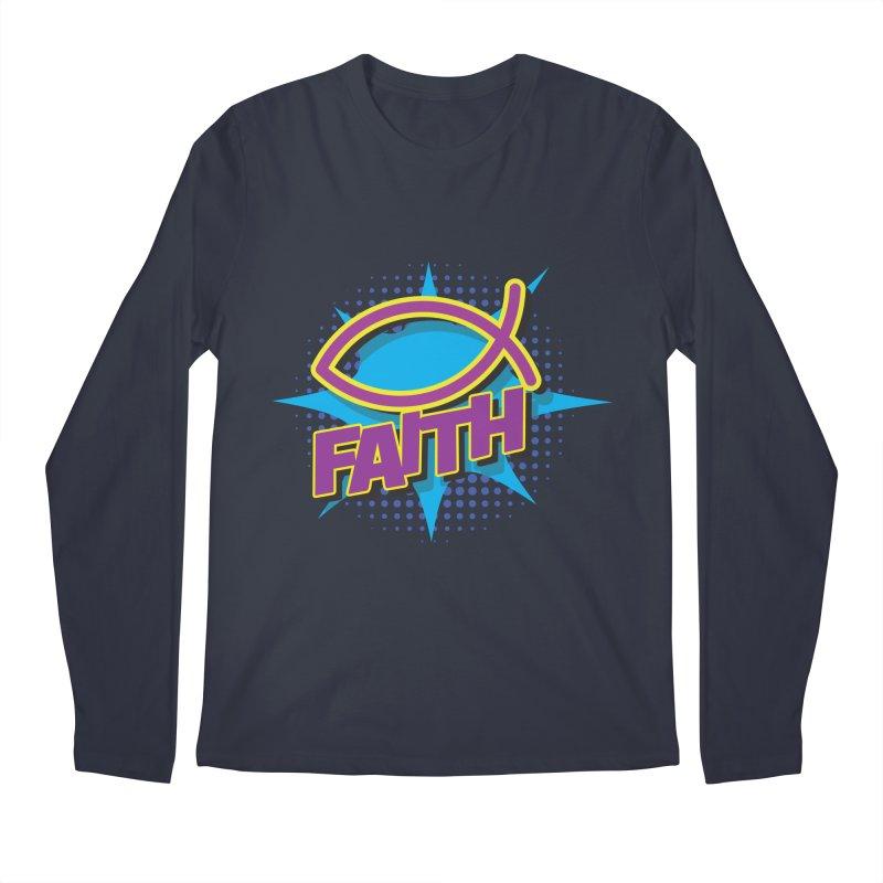 Purple and Gold Pop Art Faith Fish Men's Regular Longsleeve T-Shirt by goofyink's Artist Shop