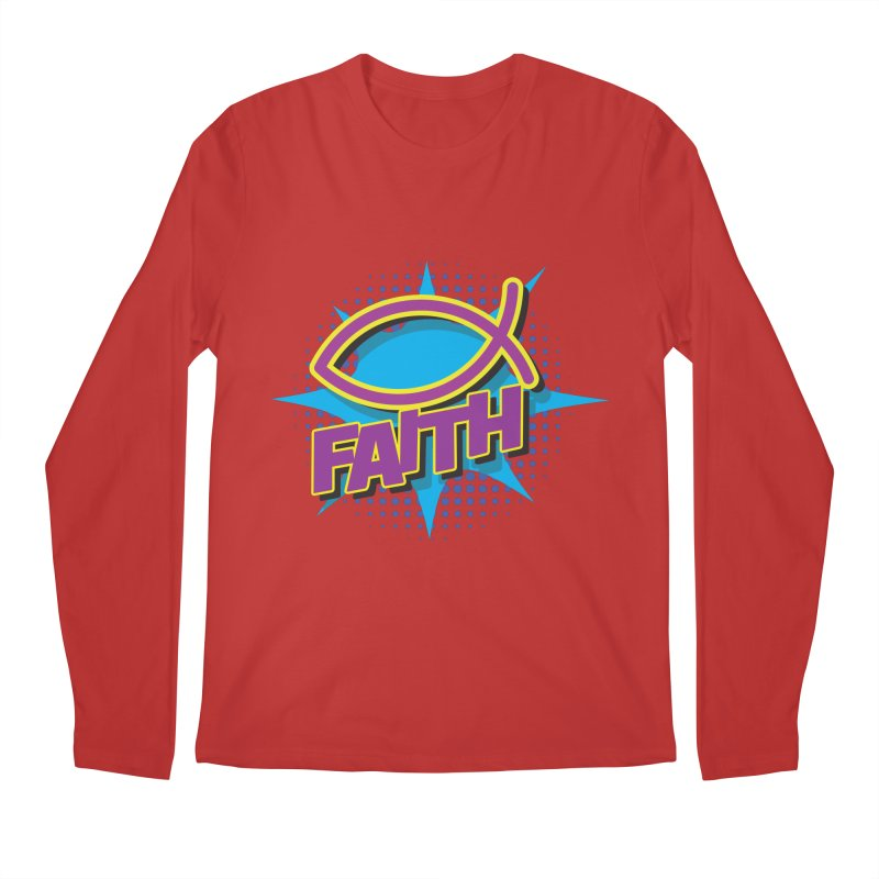 Purple and Gold Pop Art Faith Fish Men's Regular Longsleeve T-Shirt by goofyink's Artist Shop