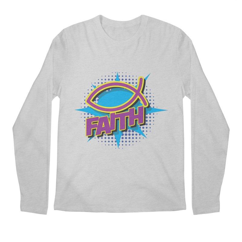 Purple and Gold Pop Art Faith Fish Men's Longsleeve T-Shirt by goofyink's Artist Shop