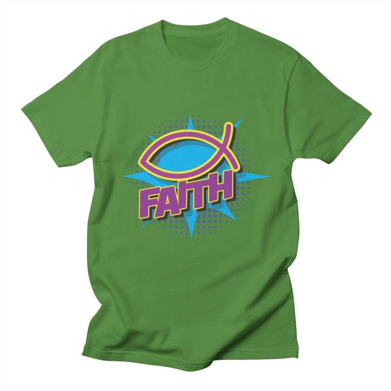 Purple and Gold Pop Art Faith Fish Men's Regular T-Shirt by goofyink's Artist Shop