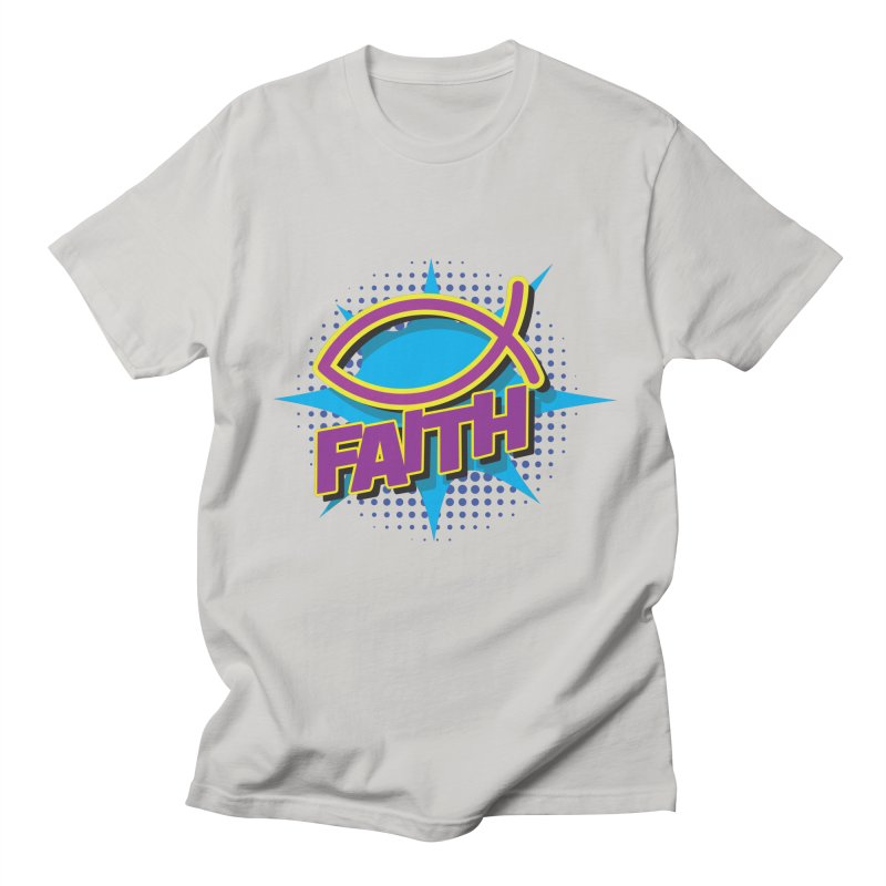 Purple and Gold Pop Art Faith Fish Women's Regular Unisex T-Shirt by goofyink's Artist Shop