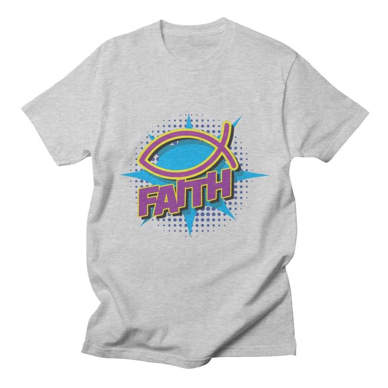 Purple and Gold Pop Art Faith Fish Women's Regular Unisex T-Shirt by goofyink's Artist Shop