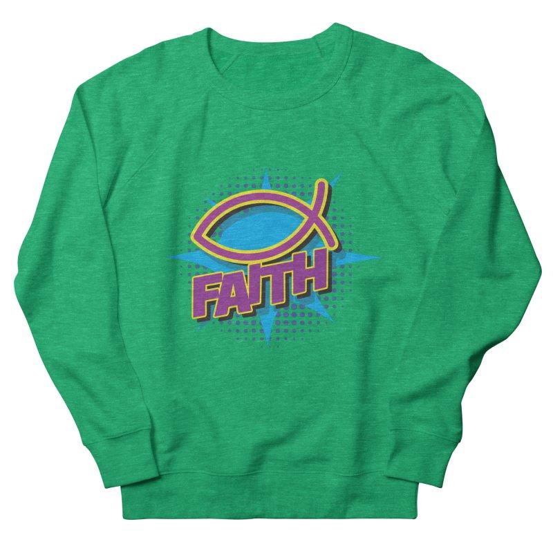 Purple and Gold Pop Art Faith Fish Women's Sweatshirt by goofyink's Artist Shop