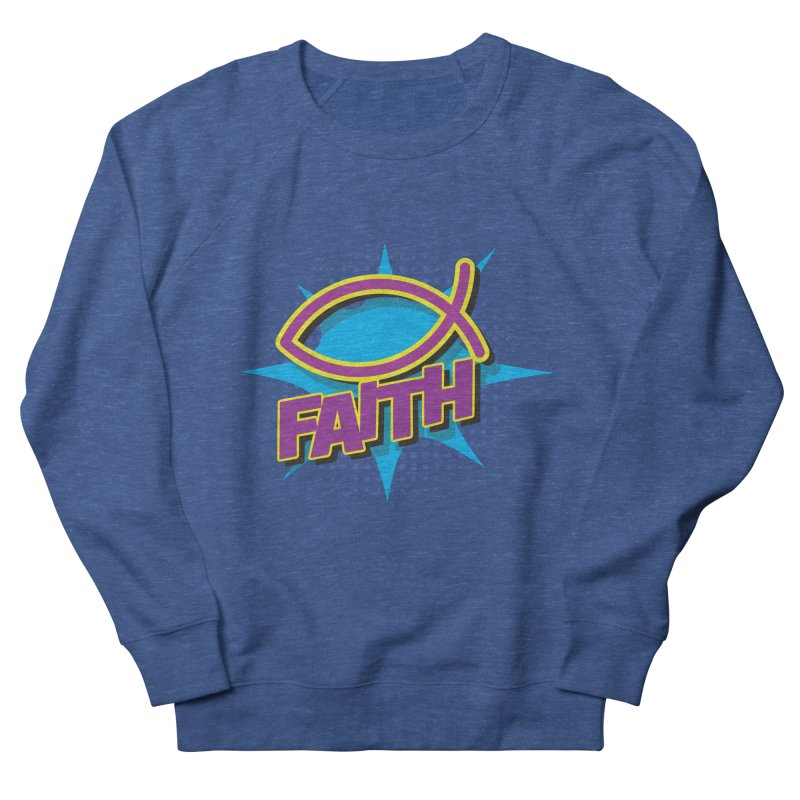 Purple and Gold Pop Art Faith Fish Men's French Terry Sweatshirt by goofyink's Artist Shop