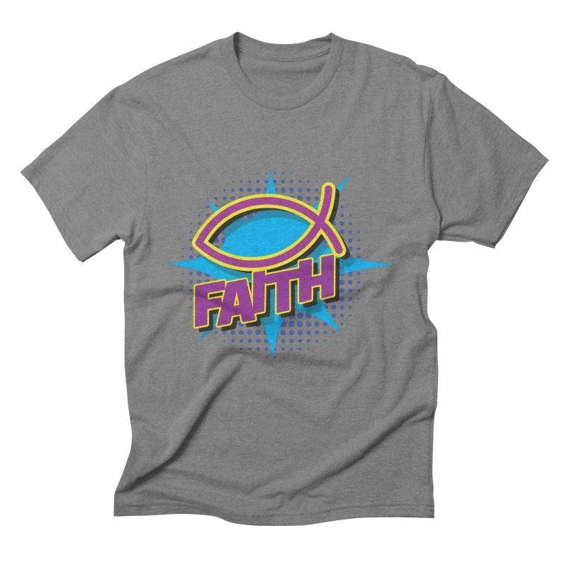 Purple and Gold Pop Art Faith Fish Men's Triblend T-Shirt by goofyink's Artist Shop