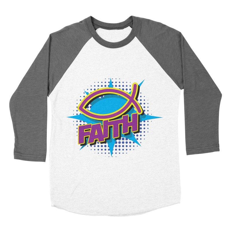 Purple and Gold Pop Art Faith Fish Women's Baseball Triblend Longsleeve T-Shirt by goofyink's Artist Shop