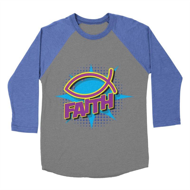 Purple and Gold Pop Art Faith Fish Women's Baseball Triblend T-Shirt by goofyink's Artist Shop