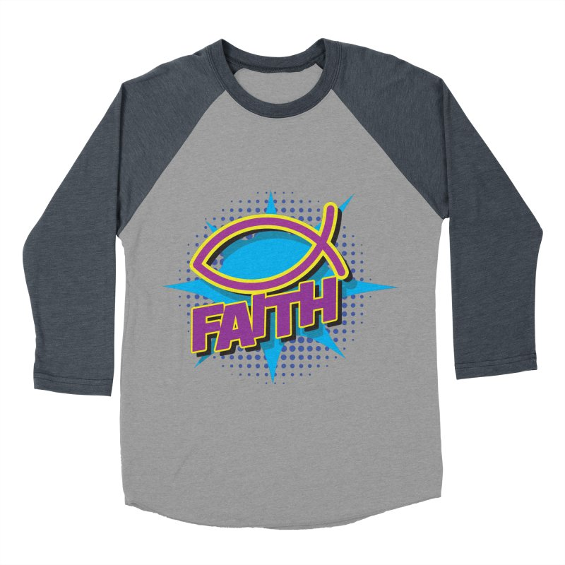 Purple and Gold Pop Art Faith Fish Women's Baseball Triblend Longsleeve T-Shirt by goofyink's Artist Shop