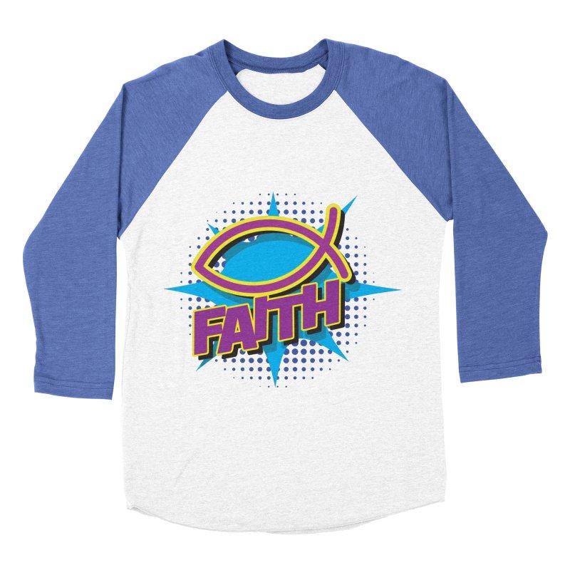 Purple and Gold Pop Art Faith Fish Men's Baseball Triblend Longsleeve T-Shirt by goofyink's Artist Shop