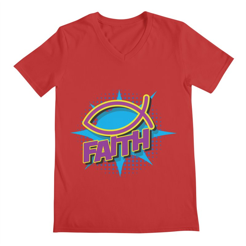 Purple and Gold Pop Art Faith Fish Men's Regular V-Neck by goofyink's Artist Shop