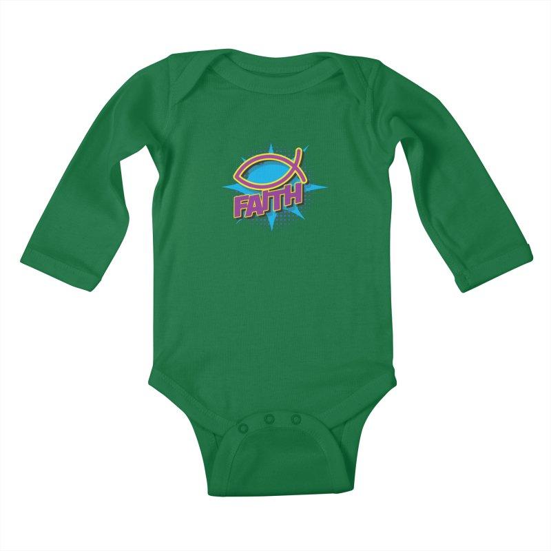 Purple and Gold Pop Art Faith Fish Kids Baby Longsleeve Bodysuit by goofyink's Artist Shop