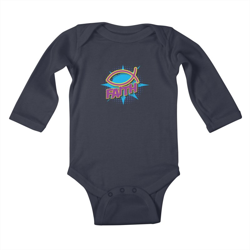 Purple and Gold Pop Art Faith Fish Kids Baby Longsleeve Bodysuit by goofyink's Artist Shop