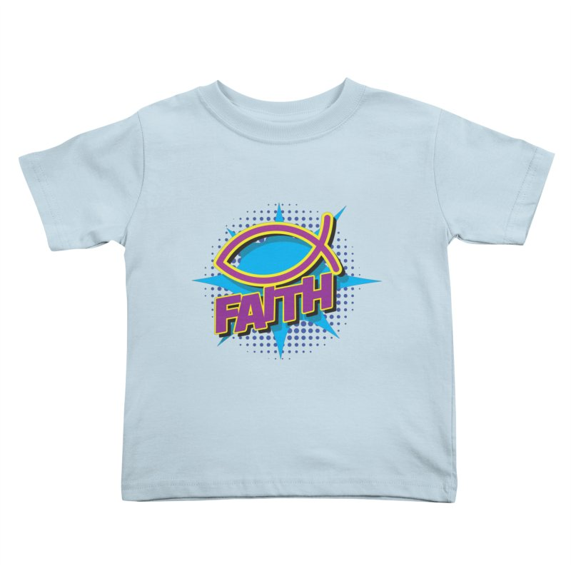 Purple and Gold Pop Art Faith Fish Kids Toddler T-Shirt by goofyink's Artist Shop