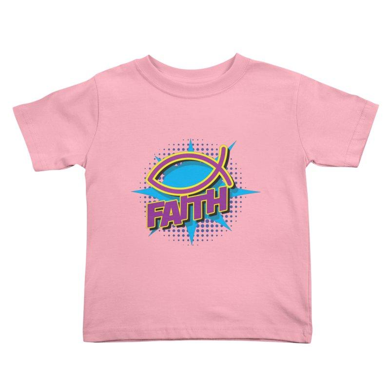 Purple and Gold Pop Art Faith Fish Kids Toddler T-Shirt by goofyink's Artist Shop