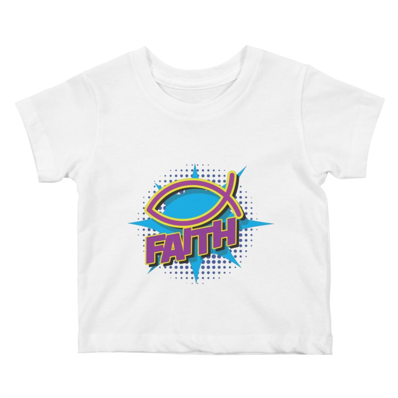 Purple and Gold Pop Art Faith Fish Kids Baby T-Shirt by goofyink's Artist Shop