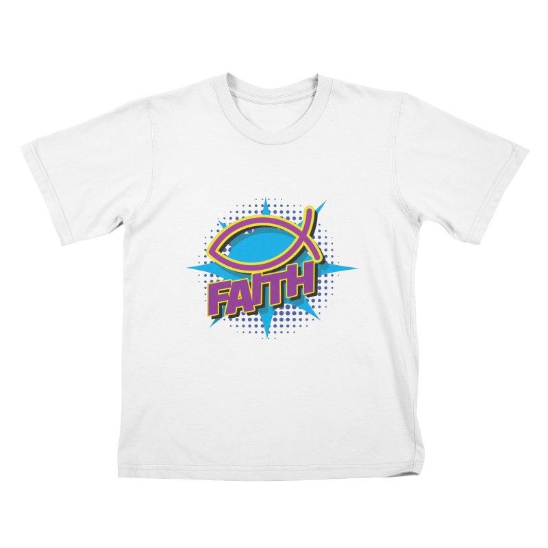 Purple and Gold Pop Art Faith Fish Kids T-Shirt by goofyink's Artist Shop