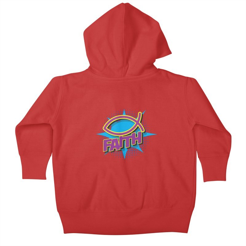 Purple and Gold Pop Art Faith Fish Kids Baby Zip-Up Hoody by goofyink's Artist Shop